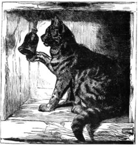 black and white drawing of a striped cat ringing a bell