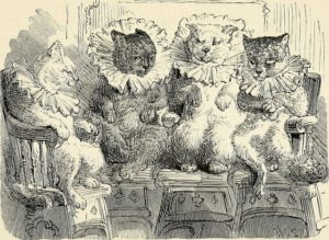 black and white drawing of four cats wearing Elizabethan ruffled collars