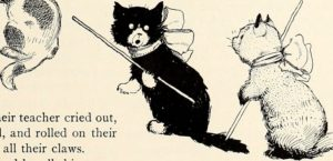 drawing of two cats holding sticks, both wearing bows