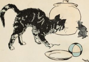 drawing of cat with arched back and mouse in front of a jar and plate
